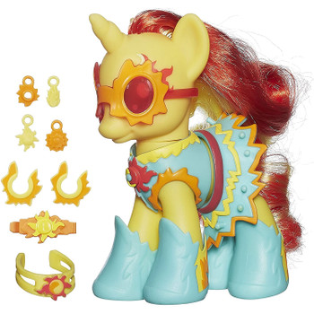 Sunset Shimmer figure wears and shares her friendship charms.