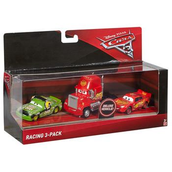 Disney Pixar Cars 3: RACING 3-PACK of 1:55 Scale Die-Cast Vehicles in packaging.