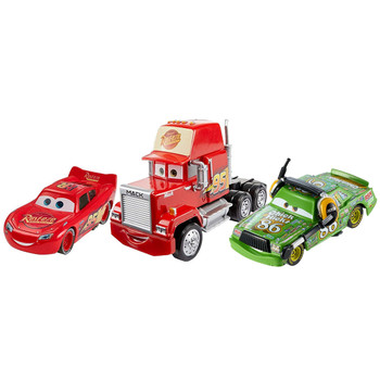You'll receive the following characters in this pack: Cars 3 Mack, Cars 3 Lightning McQueen, and Chick Hicks with Headset.