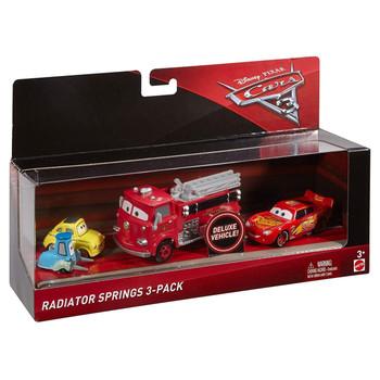 Disney Pixar Cars 3: RADIATOR SPRINGS 3-PACK (Incl. Red) of 1:55 Scale Die-Cast Vehicles in packaging.