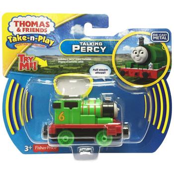 Thomas & Friends Take-n-Play Talking PERCY Die-Cast Engine in packaging.