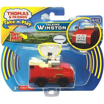 Thomas & Friends Take-n-Play Talking WINSTON Die-Cast Car in packaging.