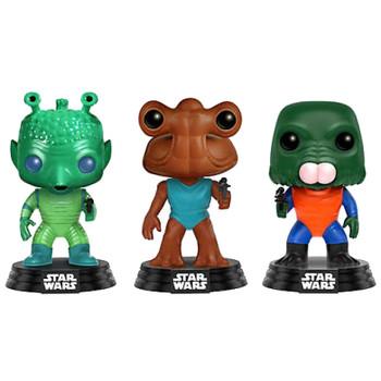 "Funko POP! Star Wars Cantina GREEDO / HAMMERHEAD / WALRUS MAN 3.75"" Vinyl Bobble-Head Figures"