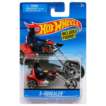 Hot Wheels 3-SQUEALER Die-Cast Motorcycle with Rider