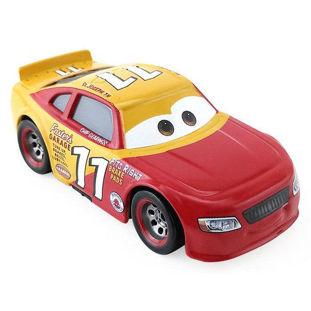 Disney Pixar Cars: Thomasville Racing Legends CHIP GEARINGS has the red and yellow livery of The classic racer Eli Turnpike