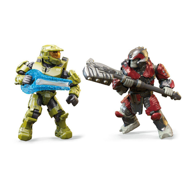 2 buildable Halo Infinite inspired micro action figures, Master Chief and a Brute Warrior.