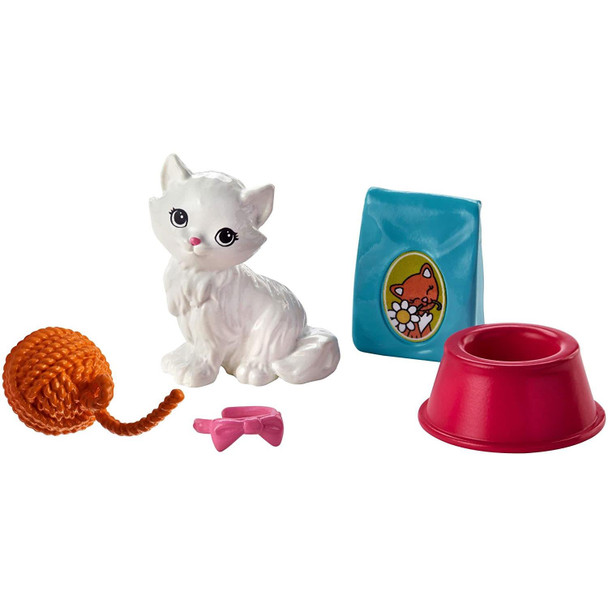 Barbie Mini Story Starter - Kitten Accessory Pack includes kitten, collar, bowl, a bag of cat food, and a ball of wool.