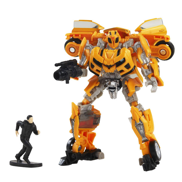 The 74BB Deluxe Class Transformers: Revenge of the Fallen Bumblebee action figure features vivid, movie-inspired deco and includes a Sam Witwicky mini figure and blaster accessory inspired by the film. Figure is highly articulated for posability.