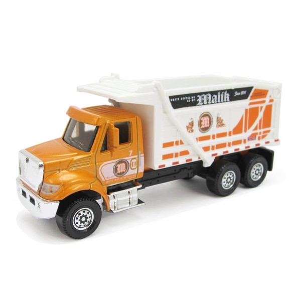 The International Workstar 7500 Dump Truck is a larger-sized service vehicle with moving parts including tipping dump bucket with opening tailgate.