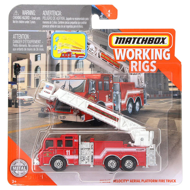 Matchbox Real Working Rigs - Pierce Velocity Aerial Platform Fire Truck (San Diego Fire-Rescue) in packaging.