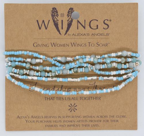 LCT-AA - light blue 5 strand bracelet, front