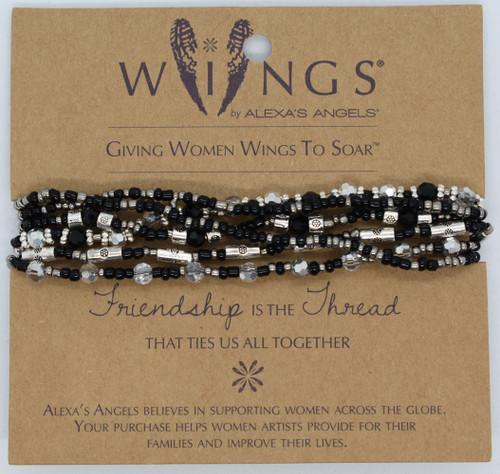 LCT-AA - 6 strand bracelet, black, front