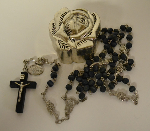 Rose Scented Blue Rosary in a Metal Rose Shaped Box