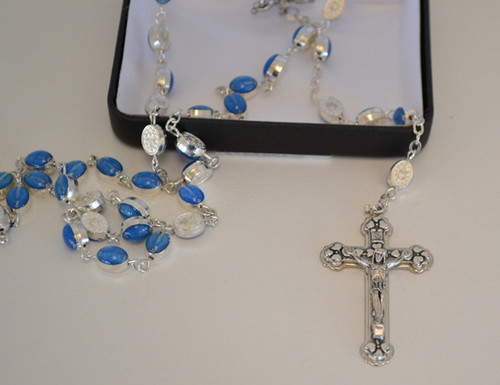 """Blue Miraculous Medal Rosary - 24"""" Long"""