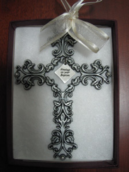 """Blessings on Your Baptism Pewter Filigree Wall Cross - Ivory, 5"""""""