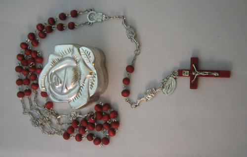 Rose Scented Red Wood Bead Rosary in a Metal Rose Shaped Box