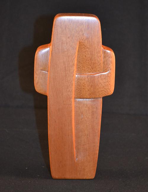 "Standing Solid Mahagony Woven Cross - 6"""