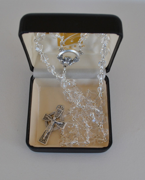 Celtic Catholic Rosary with Crystal 6mm Beads, Claddagh Centerpiece,