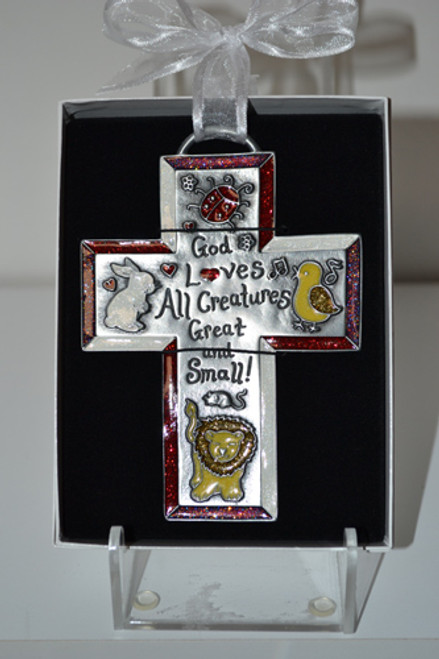 """God Loves All Creatures 5"""" Metal Cross w/Color Enamel Accents"""