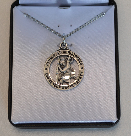 "St. Christopher Round, Open Medal, 3/4"" in Diameter"