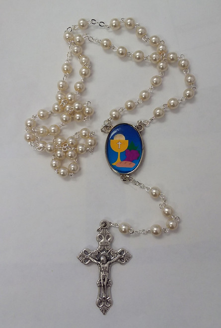 communion side, RO white rosary