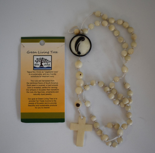 white acai and tagua nut rosary