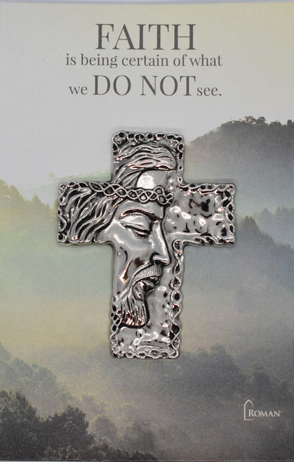 Jesus' face on cross - front