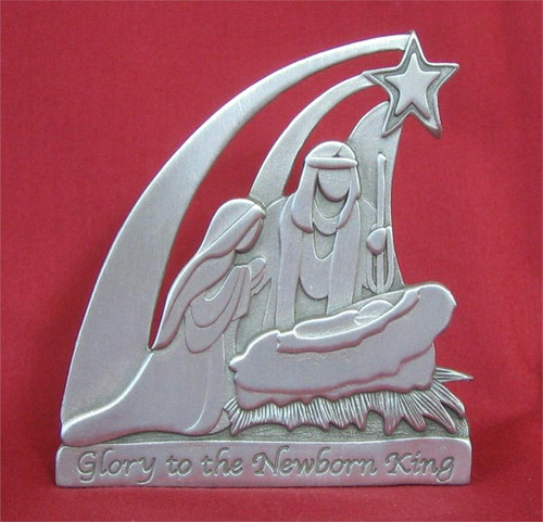 """Holy Family Standing Pewter Plaque - 3"""""""