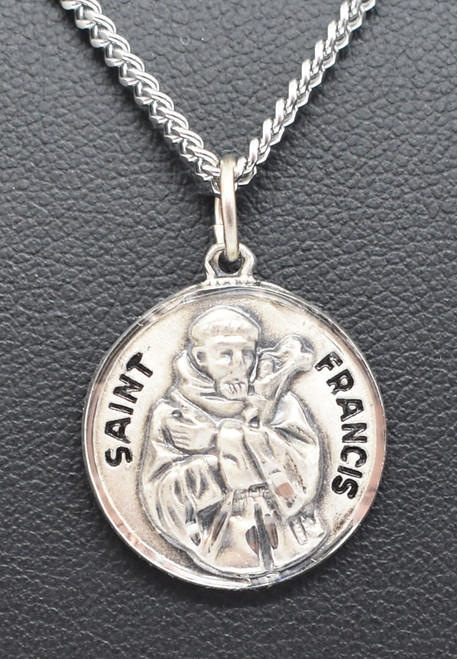 "St. Francis Sterling Silver 3/4"" Medal Necklace, New Design"