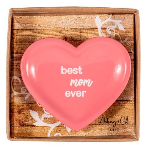 Trinket Dish - Heart shaped, best mom ever