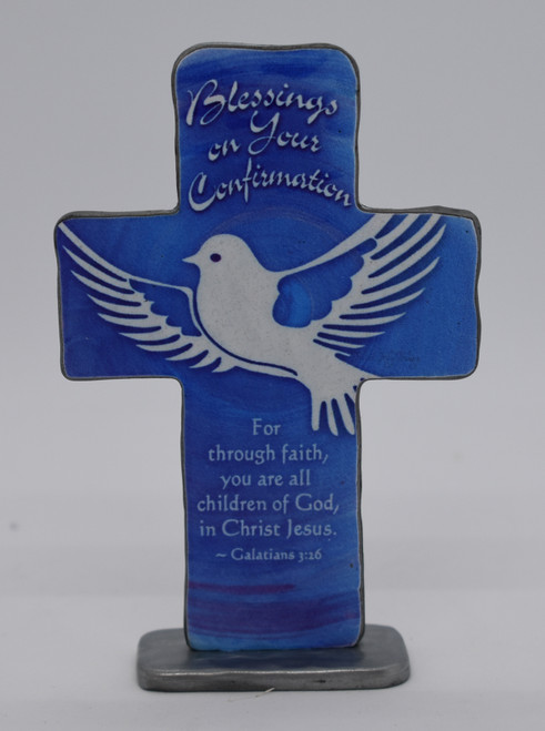 Standing Blue Confirmation Cross