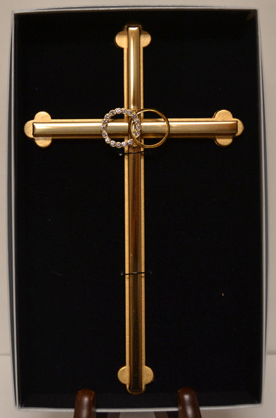 "Wedding Ring Wall Cross - 8"""