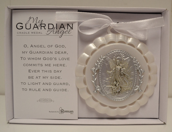 "My Guardian Angel Crib Medal, White - 3.5"", Giftboxed"