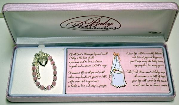 Pink Cat's Eye Bead & Silver Bracelet for Baptism, Christening
