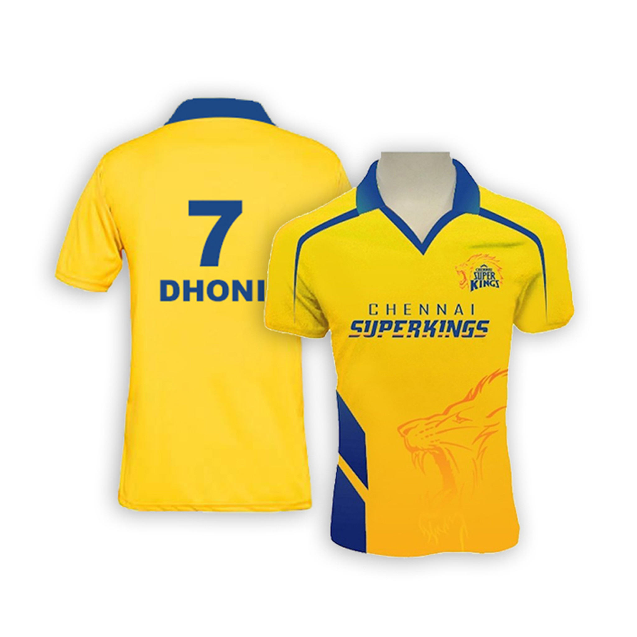 adb75351 ... Chennai Super Kings Bleed Yellow Jersey Dhoni #7 - Front and Back