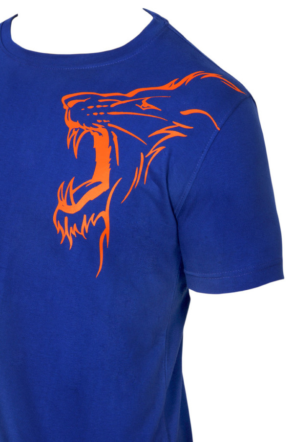 Chennai Super Kings Dhoni Blue Outline T-shirt -  Left Shoulder Lion Logo Print