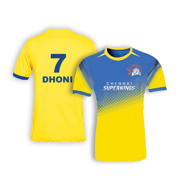 Chennai Super Kings Bleed Yellow Crew Neck Jersey with Dhoni #7 printed in the back