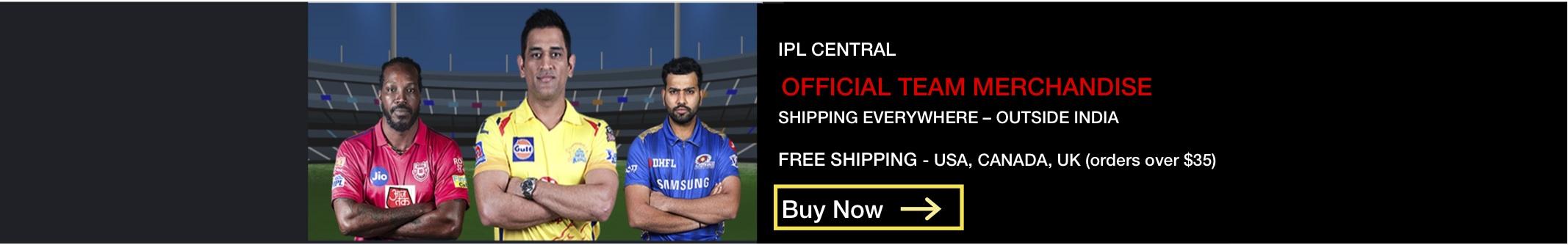 Official IPL International Store - Chennai Super Kings, Mumbai Indians, Kings XI Punjab, Rajasthan Royals, RCB