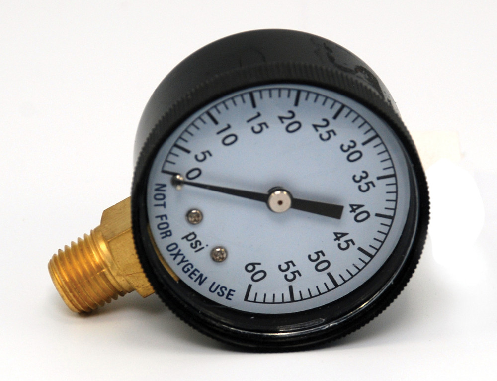 "Pressure Gauge 1/4"" 60 PSI Side Mount Clam Shell  -  AC296C"