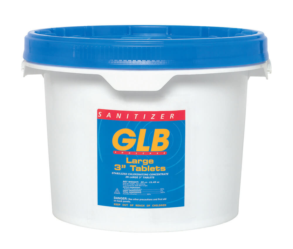 "GLB Large 3"" Stabilized Chlorine Tablets - 25 lb"