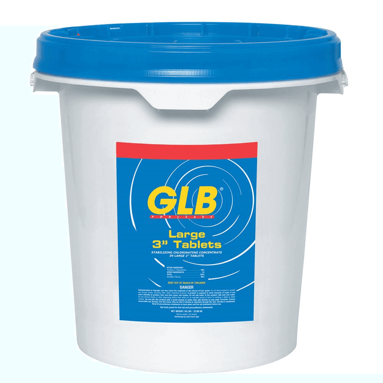 "GLB Large 3"" Stabilized Chlorine Tablets - 50 lb"