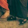 Medieval pilgrim wearing Mary Jane style shoes by Van Eyck 1427