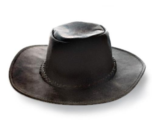 Fold-up Leather Hat-black