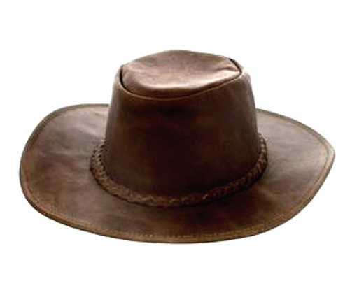 Fold-up Leather Hat-brown