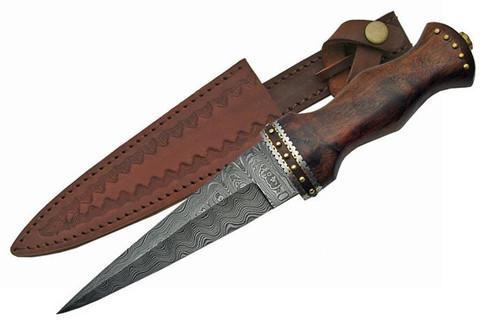 "12.5"" Damascus Sgian Dubh Rosewood Handle"