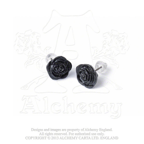 Black Rose Stud Earrings