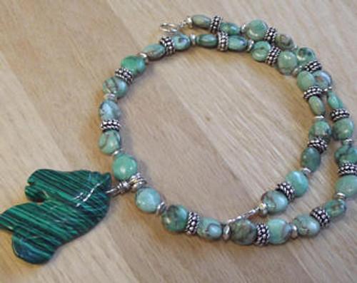 Viking Brooch Chain - in Green w/ pendant