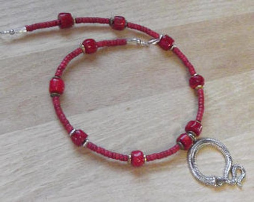 Viking Brooch Chain - in Red w/ pendant