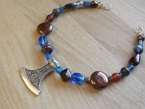 Viking Brooch Chain - in Blue and Brown w/ pendant