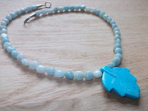 Viking Brooch Chain - in Woad (Light Blue) w/ pendant